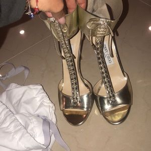 Jimmy Choo Gold Ankle Strap Heels